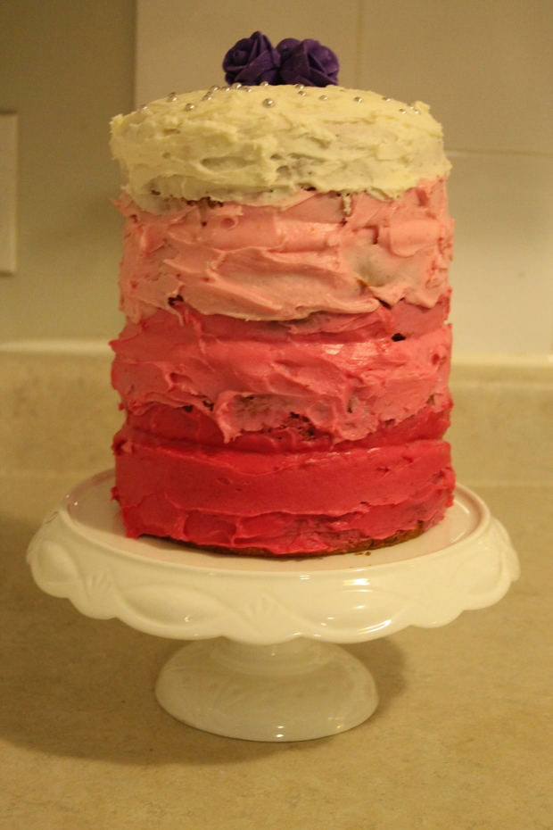 Pink Ombre Vanilla Cake - Candy Coated Culinista