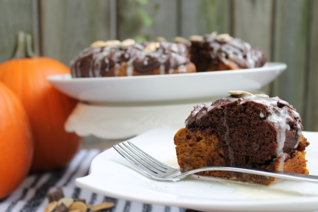 Pumpkin Chocolate Bundt - Candy Coated Culinista