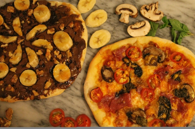 Cinque Sapori Pizza & Caramelized Banana Wal-Nutella Dessert Pizza - Candy Coated Culinista