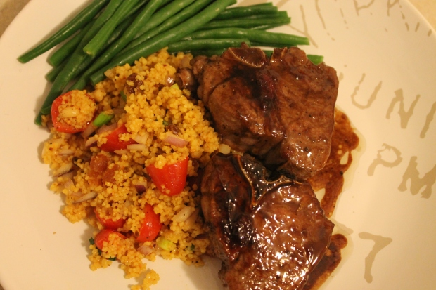 Sticky Fig Lamb with Beans & Moroccan Couscous - Candy Coated Culinista