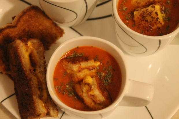 Tomato Soup with Bacon Grilled Cheese Croutons - Candy Coated Culinista