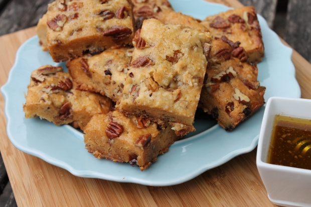 Bourbon-Pecan Blondies with Maple Butter Glaze - Candy Coated Culinista