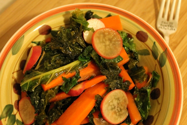 Kale, Radish & Carrot Sauté - Candy Coated Culinista