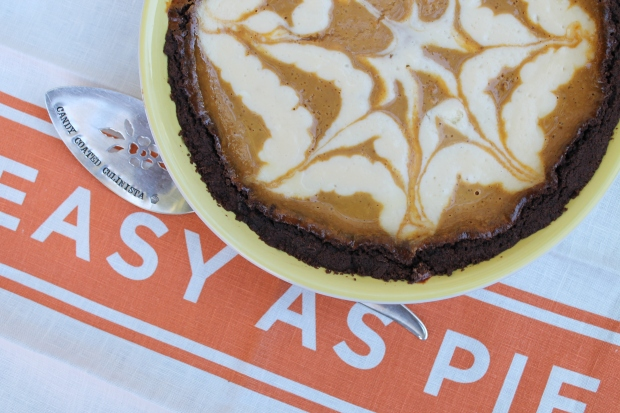 Spiderweb Chocolate Pumpkin Cheesecake Pie - Candy Coated Culinista