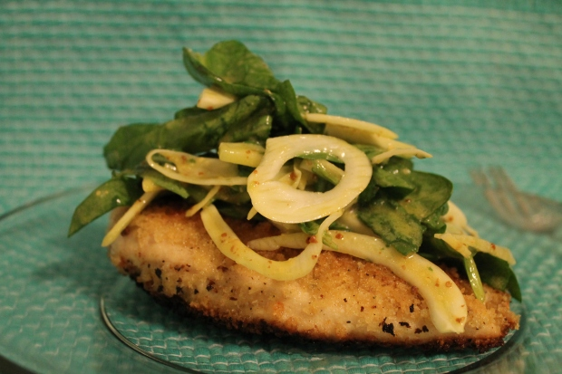 Chicken Mustard Milanese with an Spinach & Fennel Salad - Candy Coated Culinista