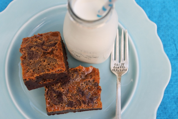 D is for ... Dulce de Leche Espresso Brownies - Candy Coated Culinista
