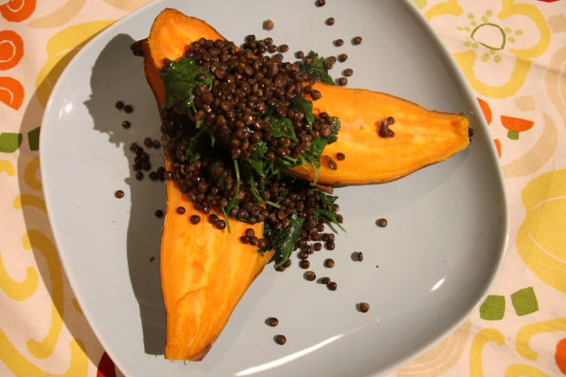 Lentil Stuffed Sweet Potatoes with Parsley - Candy Coated Culinista