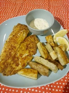 Crispy Tilapia with Lemon-Herb Mayo and Oven Fries - Candy Coated Culinista