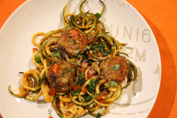 Zucchini Spaghetti and Turkey Meatballs - Candy Coated Culinista