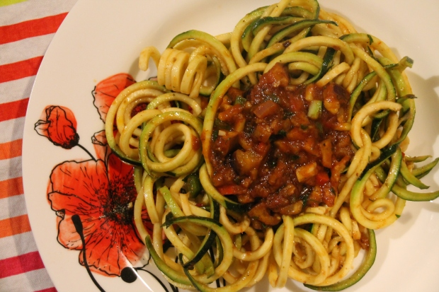 Zucchini Spaghetti and Eggplant Ragu - Candy Coated Culinista